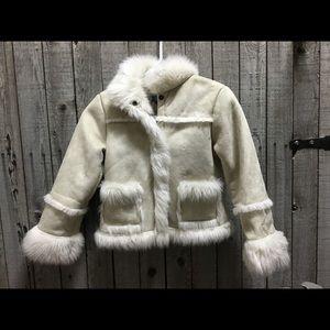 Children's place cream faux fur suede coat. Sz 7/8